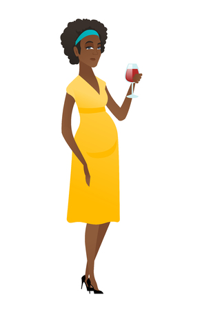 Young pregnant woman holding a glass of wine. Illustration