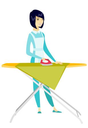 Asian maid ironing clothes on ironing board. Illustration