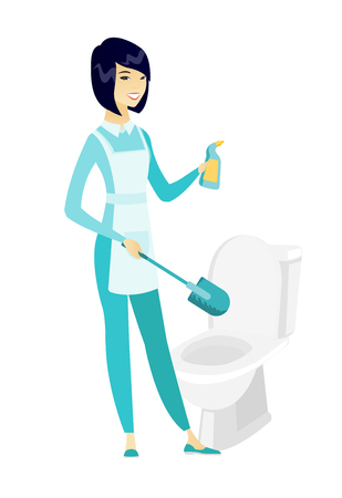 Cleaner in uniform cleaning toilet bowl.