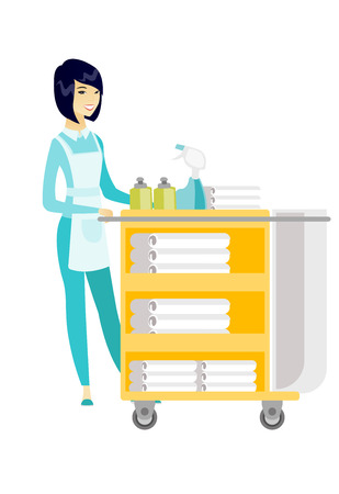Chambermaid pushing cart with bed clothes. Illustration