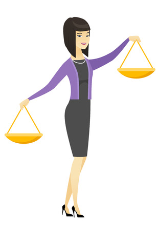 justice scale: Asian business woman holding balance scale.