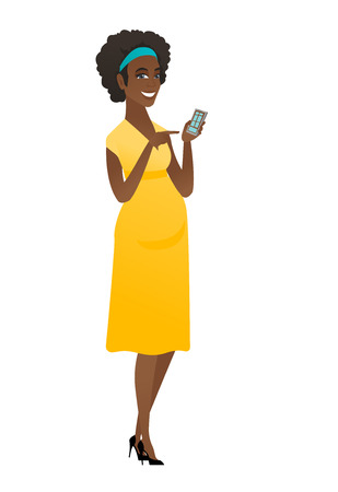 African pregnant woman holding a mobile phone.