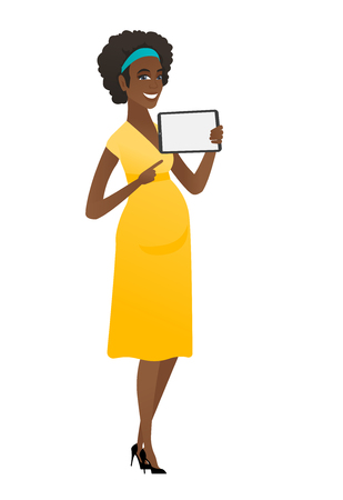 Smiling pregnant woman holding tablet computer. Illustration