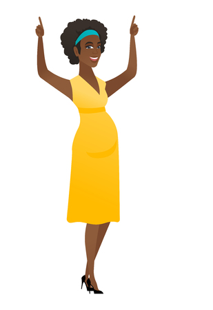 Pregnant woman standing with raised arms up. Illustration