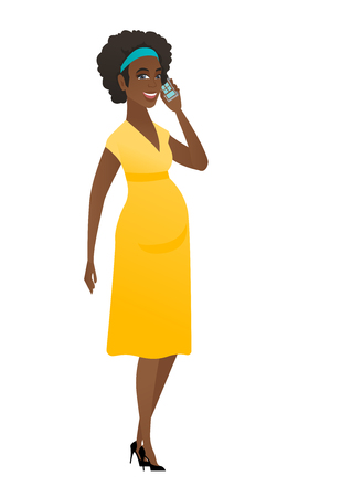 Pregnant woman talking on a mobile phone. Pregnant woman talking on cell phone. Full length of pregnant woman talking on a mobile phone. Vector flat design illustration isolated on white background. Vectores