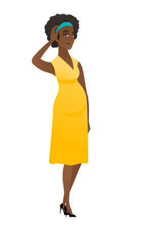 Young african pregnant woman scratching her head. Illustration