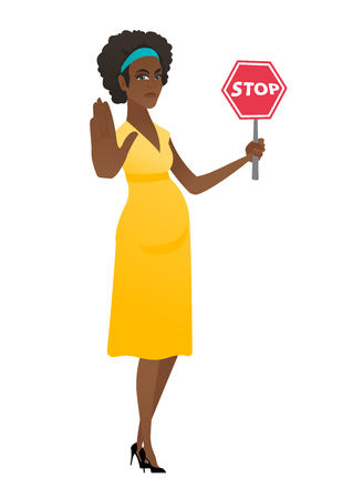African pregnant woman holding stop road sign. Illustration