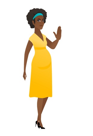 African-american pregnant woman showing palm hand.
