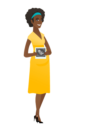 expectant: Pregnant african woman showing ultrasound scan.