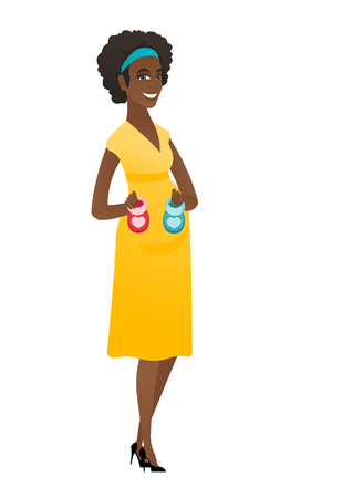 awaiting: African pregnant woman holding baby booties. Illustration