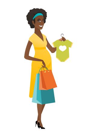Pregnant woman showing baby bodysuit.