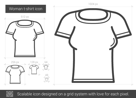 tight body: Woman t-shirt vector line icon isolated on white background. Woman t-shirt line icon for infographic, website or app. Scalable icon designed on a grid system.