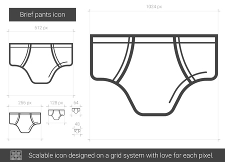 Brief pants vector line icon isolated on white background. Brief pants line icon for infographic, website or app. Scalable icon designed on a grid system.