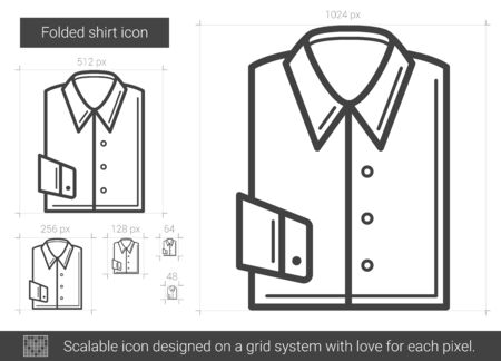 Folded shirt vector line icon isolated on white background. Folded shirt line icon for infographic, website or app. Scalable icon designed on a grid system.