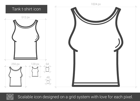 Tank t-shirt vector line icon isolated on white background. Tank t-shirt line icon for infographic, website or app. Scalable icon designed on a grid system.
