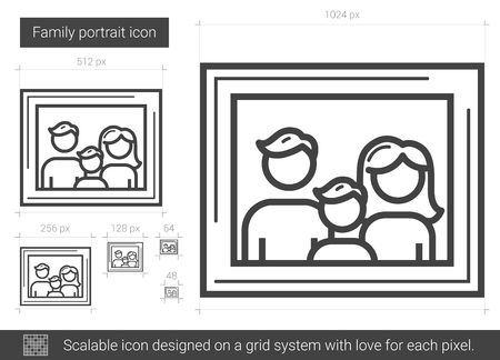 baby and mother: Family portrait vector line icon isolated on white background. Family portrait line icon for infographic, website or app. Scalable icon designed on a grid system.