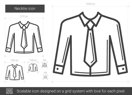 Necktie vector line icon isolated on white background. Necktie line icon for infographic, website or app. Scalable icon designed on a grid system. 矢量图像