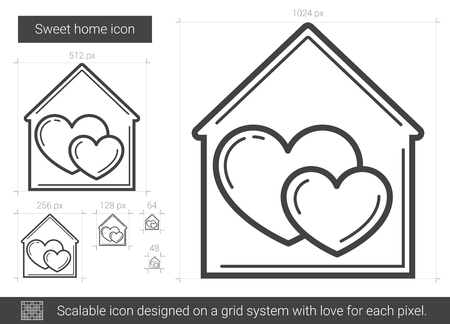 Sweet home vector line icon isolated on white background. Sweet home line icon for infographic, website or app. Scalable icon designed on a grid system.