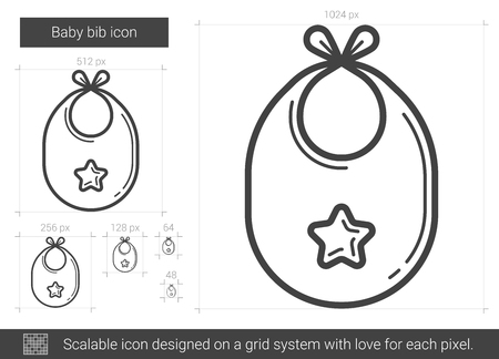 Baby bib vector line icon isolated on white background. Baby bib line icon for infographic, website or app. Scalable icon designed on a grid system.