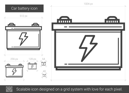 amperage: Car battery vector line icon isolated on white background. Car battery line icon for infographic, website or app. Scalable icon designed on a grid system. Illustration