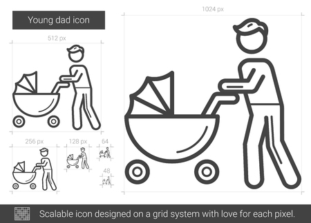 Young dad vector line icon isolated on white background. Young dad line icon for infographic, website or app. Scalable icon designed on a grid system.
