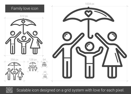 child care: Family love vector line icon isolated on white background. Family love line icon for infographic, website or app. Scalable icon designed on a grid system.