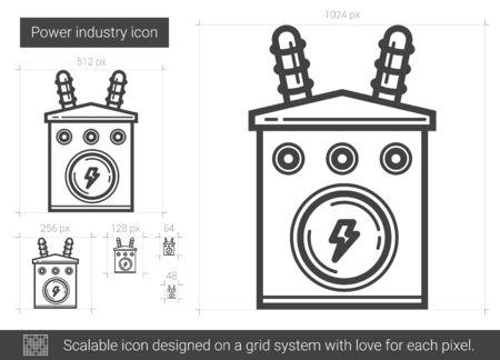 Machtsindustrie vector lijn pictogram geïsoleerd op een witte achtergrond. Power industrie lijn pictogram voor infographic, website of app. Schaalbaar pictogram ontworpen op een rastersysteem.