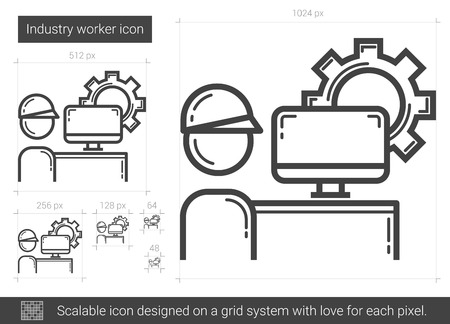 computerized: Industry worker vector line icon isolated on white background. Industry worker line icon for infographic, website or app. Scalable icon designed on a grid system.