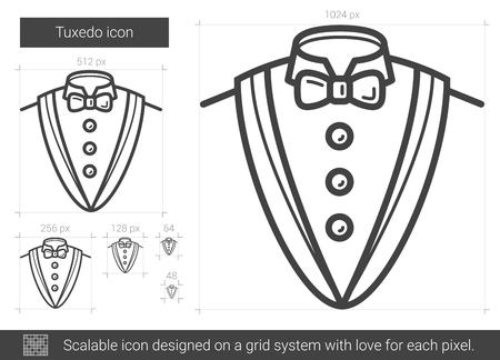 흰색 배경에 고립 된 턱시도 벡터 라인 아이콘입니다. 인포 그래픽, 웹 사이트 또는 앱용 턱시도 라인 아이콘. 그리드 시스템에서 설계된 확장 가능한