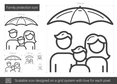 Family protection vector line icon isolated on white background. Family protection line icon for infographic, website or app. Scalable icon designed on a grid system.