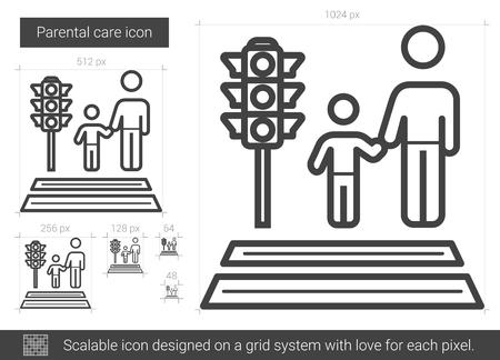union familiar: Icono de línea de vector de cuidado parental aislado sobre fondo blanco. Icono de línea de cuidado paterno para infografía, sitio web o aplicación. Icono escalable diseñado en un sistema de cuadrícula. Vectores