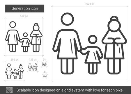 Icône de ligne de vecteur de génération isolé sur fond blanc. Icône de ligne de génération pour infographie, site Web ou application. Icône évolutive conçue sur un système de grille. Vecteurs