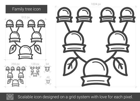 Stammbaum Vektor Liniensymbol isoliert auf weißem Hintergrund. Stammbaum-Symbol für Infografik, Website oder App. Skalierbares Symbol auf einem Rastersystem. Standard-Bild - 79666507