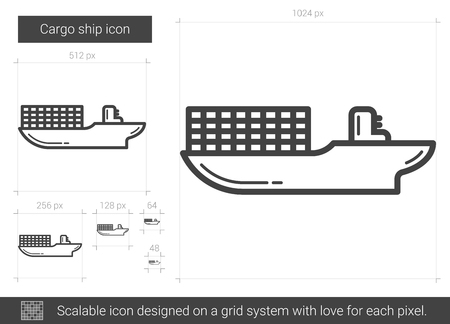 Cargo ship vector line icon isolated on white background. Cargo ship line icon for infographic, website or app. Scalable icon designed on a grid system.