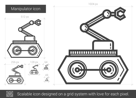 Manipulator vector line icon isolated on white background. Manipulator line icon for infographic, website or app. Scalable icon designed on a grid system.