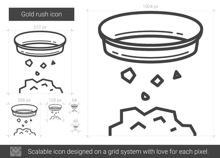 metal grid: Gold rush vector line icon isolated on white background. Gold rush line icon for infographic, website or app. Scalable icon designed on a grid system. Illustration