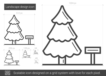 Landscape design vector line icon isolated on white background. Landscape design line icon for infographic, website or app. Scalable icon designed on a grid system.