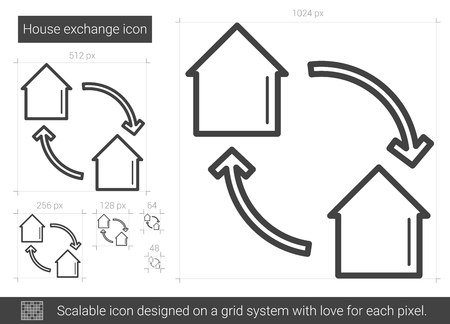 House exchange vector line icon isolated on white background. House exchange line icon for infographic, website or app. Scalable icon designed on a grid system.