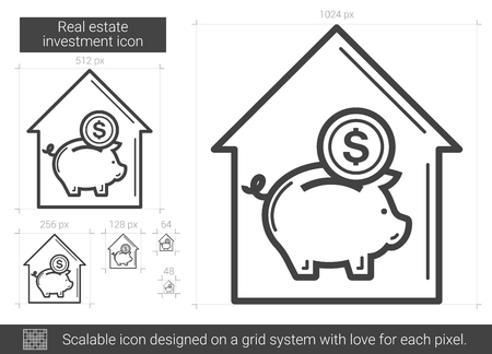 Real estate investment vector line icon isolated on white background. Real estate investment line icon for infographic, website or app. Scalable icon designed on a grid system.