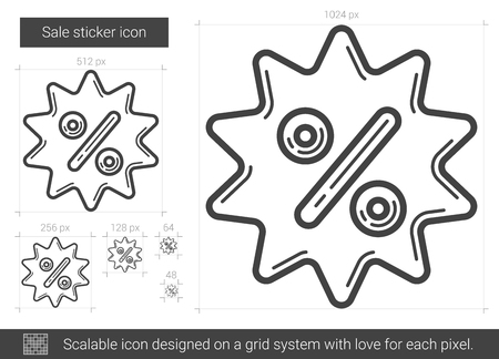 Sale sticker vector line icon isolated on white background. Sale sticker line icon for infographic, website or app. Scalable icon designed on a grid system.