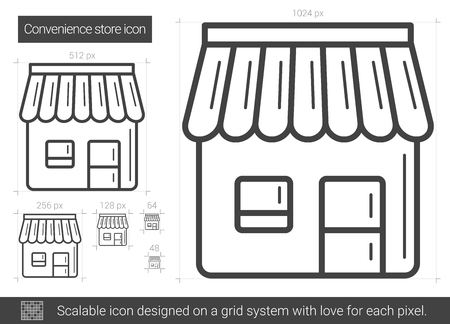 Convenience store vector line icon isolated on white background. Convenience store line icon for infographic, website or app. Scalable icon designed on a grid system. Illustration