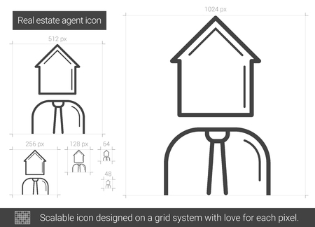Real estate agent vector line icon isolated on white background. Real estate agent line icon for infographic, website or app. Scalable icon designed on a grid system.