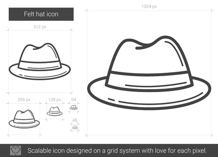 Felt hat vector line icon isolated on white background. Felt hat line icon for infographic, website or app. Scalable icon designed on a grid system.
