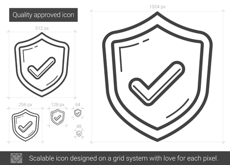Quality approved vector line icon isolated on white background. Quality approved line icon for infographic, website or app. Scalable icon designed on a grid system.