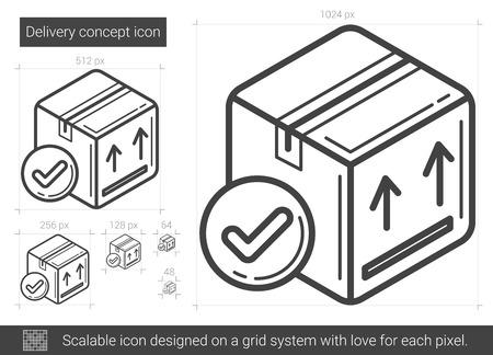 Concepto de entrega icono de línea de vector aislado sobre fondo blanco. Icono de línea de concepto de entrega para infografía, sitio web o aplicación. Icono escalable diseñado en un sistema de cuadrícula. Foto de archivo - 79670976