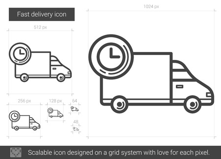 Fast delivery vector line icon isolated on white background. Fast delivery line icon for infographic, website or app. Scalable icon designed on a grid system.