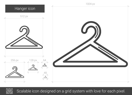 metal grid: Hanger vector line icon isolated on white background. Hanger line icon for infographic, website or app. Scalable icon designed on a grid system. Illustration