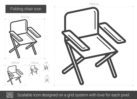 foldable: Folding chair vector line icon isolated on white background. Folding chair line icon for infographic, website or app. Scalable icon designed on a grid system.