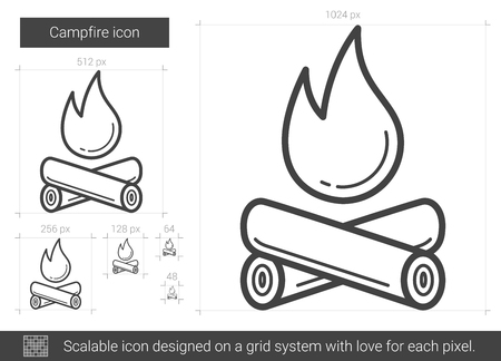 outdoor fireplace: Campfire vector line icon isolated on white background. Campfire line icon for infographic, website or app. Scalable icon designed on a grid system.