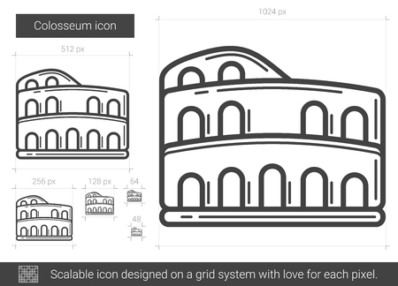 Colosseum vector line icon isolated on white background. Colosseum line icon for infographic, website or app. Scalable icon designed on a grid system.